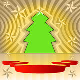 Tree shape with stars and ribbon Royalty Free Stock Photos