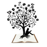 Tree shaped made with school icons set illustratio Stock Photos