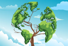 Tree shaped world map Stock Photos
