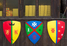 Tree shields with banners families medieval families Stock Photography