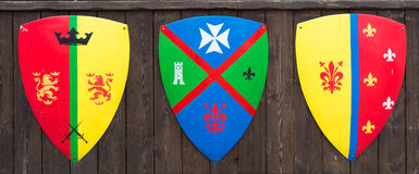 Tree shields with banners families medieval families Stock Photo