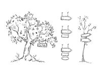 Tree with sign, hand drawn signs, vector illustration Royalty Free Stock Images