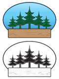 Tree Sign. Tree themed image that can be used as a background for a sign in both color and black and white royalty free illustration