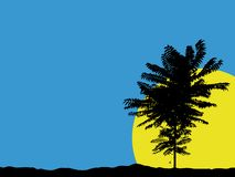 Tree silhouette. Blue sky with tree silhouette (with vector eps format vector illustration
