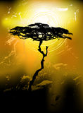 Tree silhouette on an abstract background. 2d vector Royalty Free Stock Image