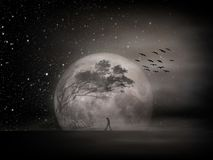 Free Tree Silhouette And Flock Of Birds Flying Away In The Evening. Lonely Thoughtful Man Walking Against An Isolated Dark Tree. Stock Image - 160586201