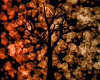 Tree Silhouette with Autumn Leaves Background Royalty Free Stock Image