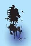 Tree silhouette background. And birds flying, with place for your text Royalty Free Stock Image