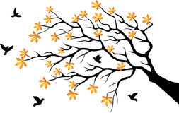 Tree silhouette with bird flying. Illustration of tree silhouette with bird flying Stock Images