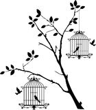 Tree silhouette with birds flying and bird in a cage Royalty Free Stock Photos