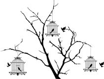 Tree silhouette with birds flying and bird in a cage Stock Photo