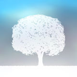 Tree silhouette blue and white landscape. EPS 8 Royalty Free Stock Photography