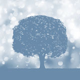 Tree silhouette blue and white landscape. EPS 8 Royalty Free Stock Photo