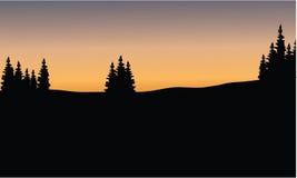 Tree silhouette on fields Stock Photo