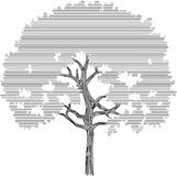 Tree silhouette graphic on a white background Stock Photography