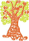 Tree silhouette of green and brown spirals Stock Images
