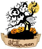 Tree silhouette with Halloween banner Royalty Free Stock Image