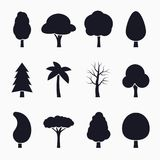 Tree silhouette icons set. Vector illustration graphic Royalty Free Stock Image