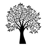 Tree silhouette. Silhouette of tree with leaves vector Stock Photo
