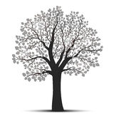 Tree silhouette with leaves Royalty Free Stock Images