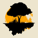 Tree Silhouette with Moon vector illustration