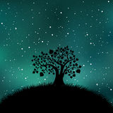 Tree silhouette night time. Tree silhouette on night time starry sky. Galaxy, universe, nature vector illustration. Countryside abstract landscape Stock Images