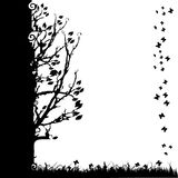 Tree silhouette old, season Royalty Free Stock Images