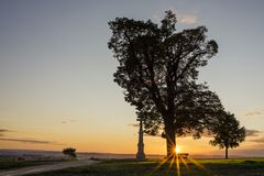 Tree silhouette in sunset with a wayside cross, Olomouc Czech Republic Royalty Free Stock Photo