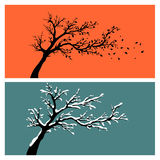 Tree silhouettes Stock Photos