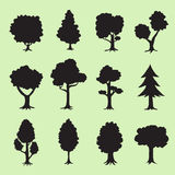 Tree silhouettes collection Royalty Free Stock Photography