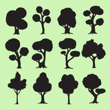 Tree silhouettes collection Royalty Free Stock Photo