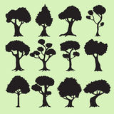 Tree silhouettes collection Royalty Free Stock Images