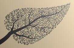 Tree silhouettes. Leaf shape. Vector illustration. Royalty Free Stock Images