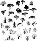 Tree silhouettes set Royalty Free Stock Images