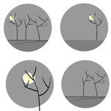 Tree silhouettes set. Black tree silhouettes with moon on gray circles Vector Illustration