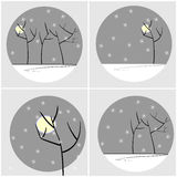 Tree silhouettes with snow set. Black tree silhouettes with moon and snowflakes on gray circles Stock Illustration