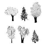 Tree sketch set Royalty Free Stock Photos