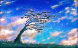 Tree sky. Drawing a tree on a cloudy sky Stock Photo