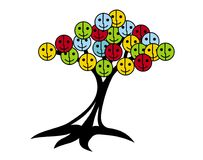 Tree of smiles and joy. Tree with smiley faces in variouscolors. Tree of smiles and joy. Tree with smiley face instead of leaves. Brightcolors: Red, yellow Stock Images