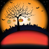 Tree with smiling pumpkins. Abstract colorful illustration with tree shape, bats, and pumpkins hanging from the tree Stock Image