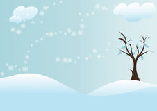 Tree with snow background. A blue snow background with clouds and a tree.EPS file available Royalty Free Stock Photos