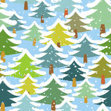 Tree in snow seamless pattern. Snowstorm in forest. Snow on tree Stock Image