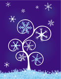 Tree with snowflakes Stock Photo