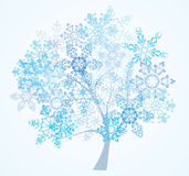 Tree from snowflakes. Blue tree from nice snowflakes Stock Image