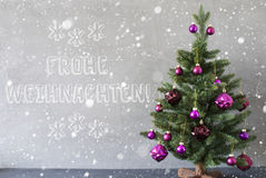 Tree, Snowflakes, Cement Wall, Frohe Weihnachten Means Merry Christmas Royalty Free Stock Photos