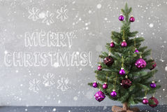 Tree With Snowflakes, Cement Wall, Text Merry Christmas Stock Photography