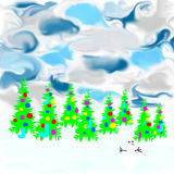Tree and snowman. Picture tree and snowman on a colored background. illustration Royalty Free Stock Photos