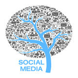 Tree Of  Social Media Symbols Royalty Free Stock Photos