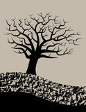 Tree and soil. Vector illustration of a barren tree and earth section, grey tone Stock Photos