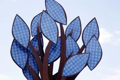 A tree of solar energy cells Royalty Free Stock Photography